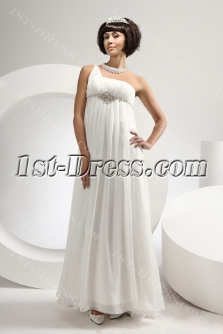 Ivory One Shoulder Summer Beach Bridal Gown