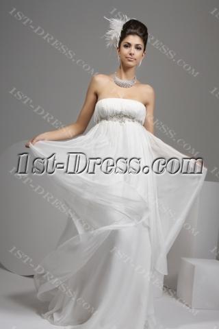 Ivory Strapless Empire Flowy Wedding Dresses