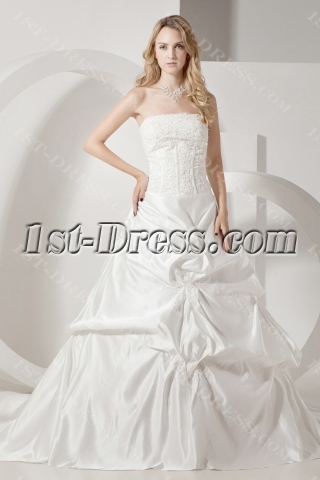 Ivory Strapless Satin Mature Bride Wedding Dresses