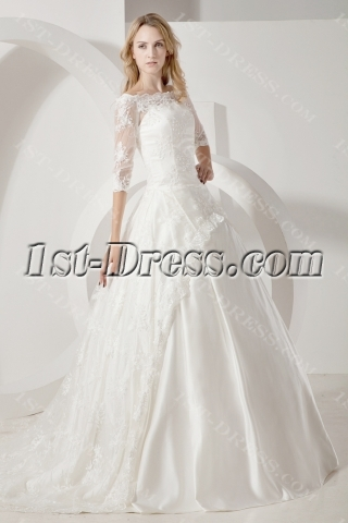 Lace Long Sleeves Modest Bridal Gown with Bateau Neckline