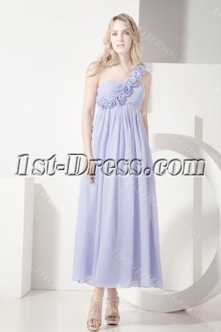 Lavender One Shoulder Ankle Length Maternity Cocktail Dress