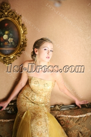 Long Gold Lace Sheath Pretty Prom Dress