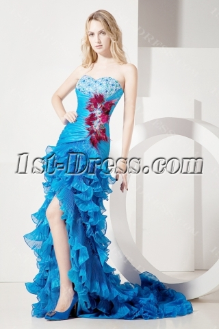 Luxurious Blue Celebrity Dress with Train