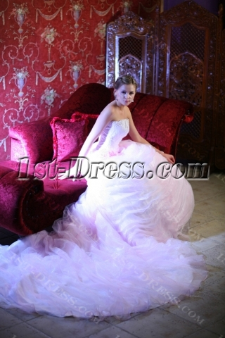 Luxury Bridal Gown 2013 with Pink Flowers
