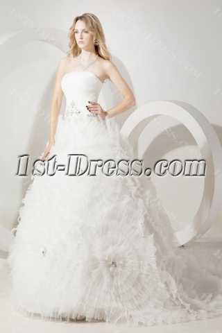 Luxury Floral Princess Bridal Gown Dress