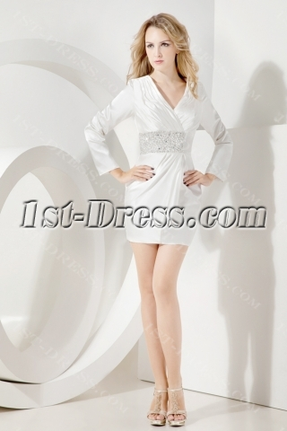 Modest Long Sleeves Short Mother of Brides Dress