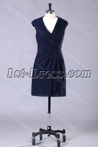Navy Blue Short Chiffon Mini Homecoming Dresses