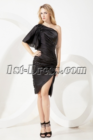One Shoulder Black Homecoming Dress with Split