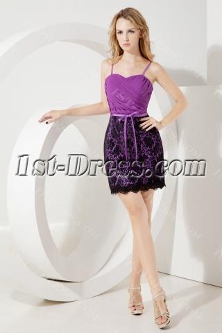 Purple Little Back Cocktail Dress with Black Lace