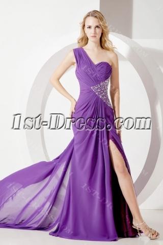 Purple Long Celebrity Cocktail Dresses