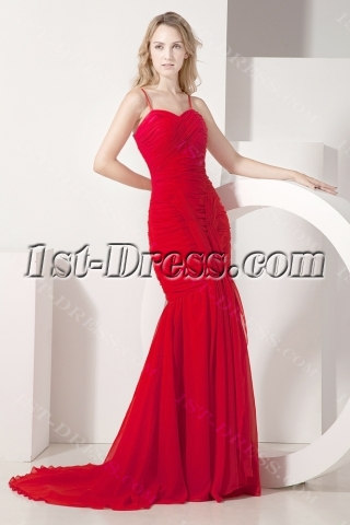 Red Mermaid Formal Evening Dress with Straps