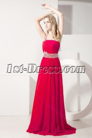 Red One Shoulder Romantic Vintage Evening Dress