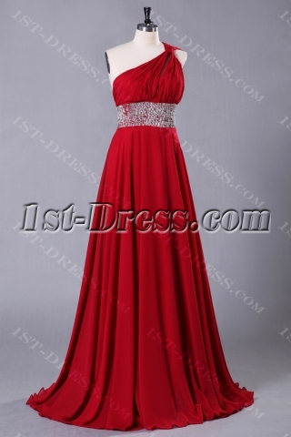 Red Petite Chiffon Long Evening Dress 2013