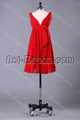 Red Plunge Short Tea Length Plus Size Evening Dress