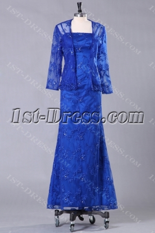 Royal Lace Mother of Bride Dress with Long Sleeve Jacket
