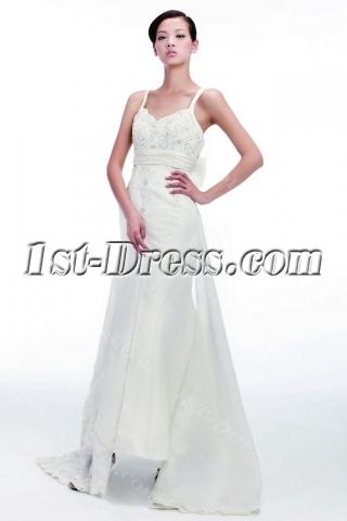 Sheath Civil Wedding Dresses with Spaghetti Straps