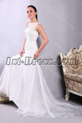 Sheath Modest Bride Wedding Dresses with Illusion Neckline
