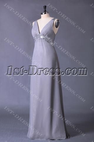 Silver Long Empire Waist Plus Size Prom Dresses
