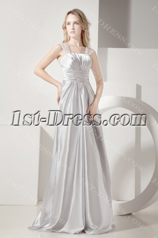 Silver Long Plus Size Prom Gown for Cocktail Party