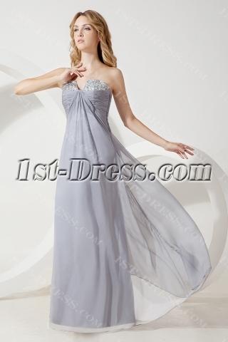 Silver Long Pregnant Bridesmaid Gown