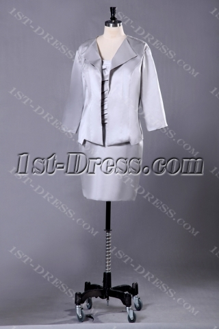 Silver Long Sleeve Short Mother of the Bride Dresses