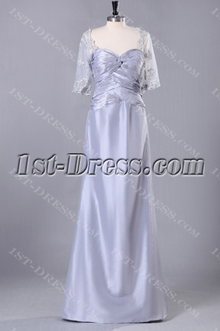 Silver Modest 2013 Prom Dresses with Middle Sleeves