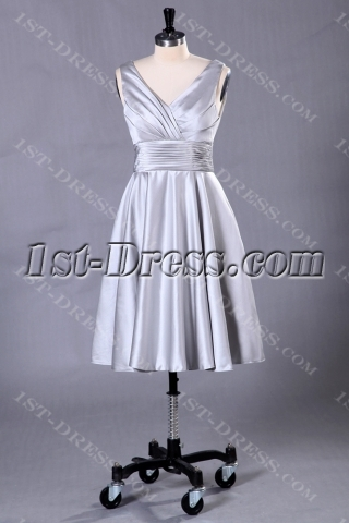 Silver Short Formal Evening Dress with Tea Length