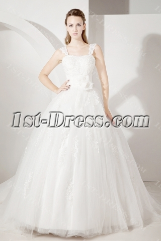 Straps Lace Ball Gown Wedding Dress