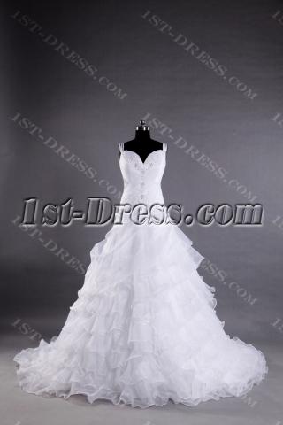 Straps Off Shoulder Elegant Wedding Dress with Train