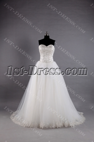 Sweetheart Ball Gown Wedding Dresses with Silver Embroidery