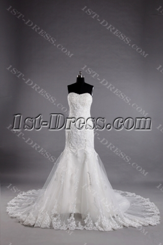 Sweetheart Modest Lace Sheath Bridal Gown with Lace up