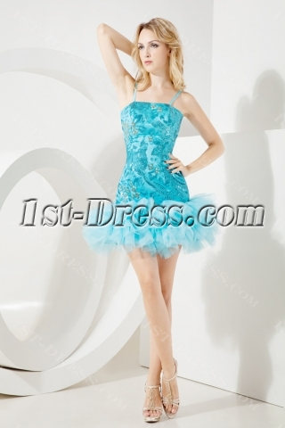 Teal Blue Sequins Cocktail Dress for Party