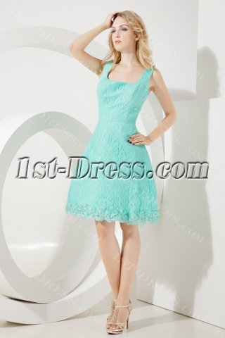 Teal Lace Short Beach Wedding Gown