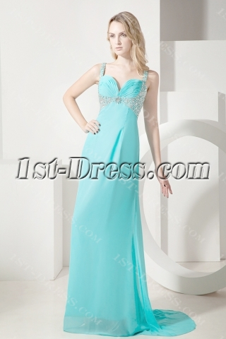 Teal Plus Size Prom Gown with Straps