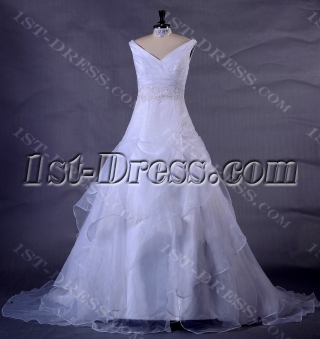 V-Neckline A-line Plus Size Bridal Gown