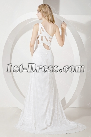 White Sequins Celebrity Dress with Slit Front