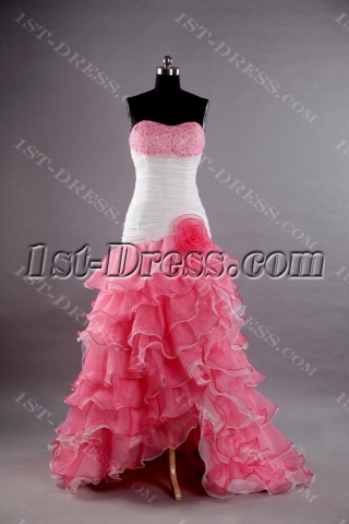White and Pink Best Quinceanera Dress with Slit Front