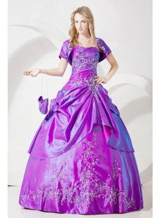2012 Modest Purple Quinceanera Dresses with Short Jacket