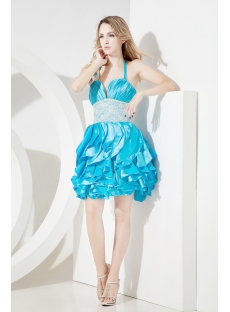 2013 Blue Halter Quinceanera Gown Short