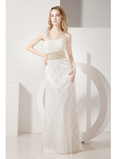 2013 Gold Lace Evening Dress with One Shoulder