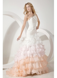 2014 Modern Colorful Mermaid Bridal Gown with One Shoulder