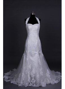 2014 Spring Luxury Halter Sheath Lace Bridal Gown