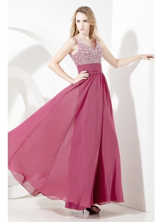 Bead Chiffon Ankle Length Plus Size Prom Gown