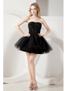 Beaded Black Short Sweet 16 Gown