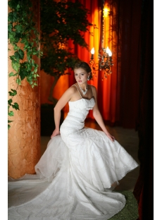 Beaded Luxury Elengaht Sheath Bridal Gown