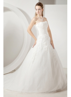 Beautiful Lace Strapless Modest Bridal Gowns