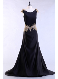 Black Long Plus Size Evening Dress with Gold Appliques