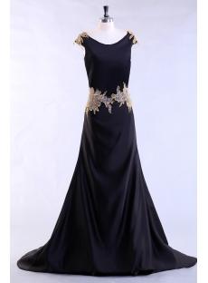 Black Long Plus Size Evening Dress with Gold Appliques