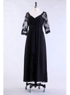 Black Middle Length Sleeves Formal Mother of Groom Dress
