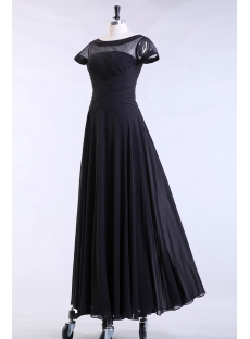 Black Modest Formal Evening Dress with Short Sleeves
